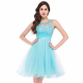 Vestido Debutante Azul Claro 34 36 38 40 42 44 46 48 Vg00260