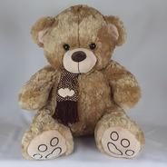 Urso De Pelúcia 60cm Bege Cachecol Coração