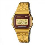 Reloj Digital Dorado, Esfera Cuadrada A-159wgea-5