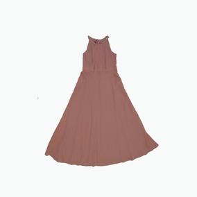 Vestido De Día Rosa Largo Con Aplicaciones De Cristal
