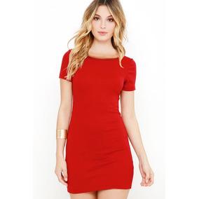 Vestido Rojo Algodón Strech Coctel Moda Dama Unitalla Sexy