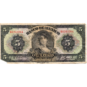 Antiguo Billete 5 Pesos Gitana Grande Años 30s