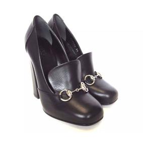 Zapato Italiano Gucci De Dama Piel Negro Nuevo En Caja