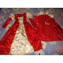 Bello Vestido De Reina Talla 10 Con Capa Y Corona