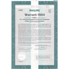 Philips Warrant - 1984 - 1.000 Ordinary Shares.