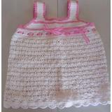Vestido Bebe Tejido Al Crochet Beba Blanco Y Rosa