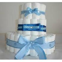 Bolo De Fraldas Azul E Branco Pompom Promoção