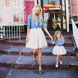 Vestido Set2 Falda&camisa Jeans Fashion Madre E Hija Coat