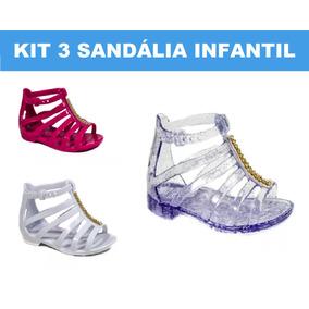 3 Unid Sandália Baby Infantil Fem Sapatilha Tipo Melissa