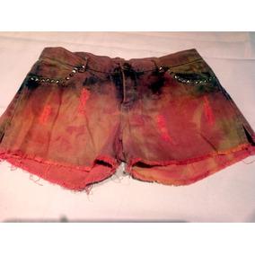 Short Jean Batik Color Ladrillo Con Tachas Talle Small