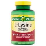 Pastillas L-lisina Spring Valley 1000 Mg, 100 Tabletas
