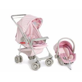Kit Carrinho Com Bebê Conforto Milano Rosa Bebê Galzerano