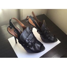 Sandalias Mujer Taco Alto Cuero Zara Talle 38