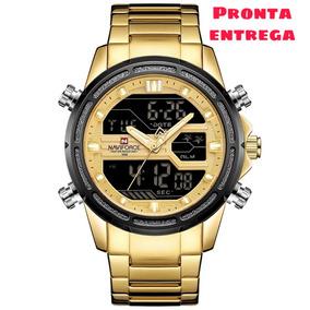 Relógio Naviforce Masculino Dourado Esportivo Aço Inoxidável