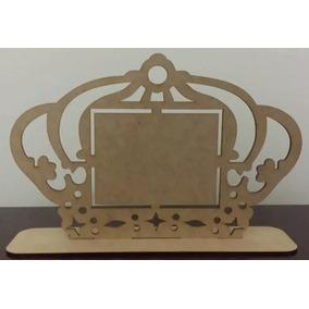 30 Porta Retrato Lembrancinha Coroa Mdf Cru Centro De Mesa