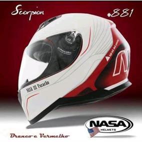 Capacete Nasa Helmets Scorpion Branco/vermelho
