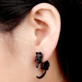 Par De Brincos Gato Gatinho Piercing Tridimensional Ear Cuff