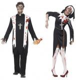 Mens Amp; Damas Parejas Fancy Dress Zombie Nun Amp; Pr W78