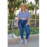 Calça Sol Jeans Cigarrete Plus Cós Largo Com Lycra Azul