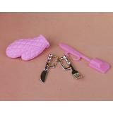Kit Miniatura Luva Garfo Faca Pra Cozinha Da Barbie *4 Peças