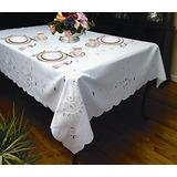 Rivierra Diseño Bordado Mantel Blanco 70 \por 120\ Oblong /