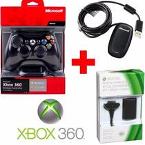 Controle Xbox 360 S/ Fio Wireless Microsoft +receiver +bat.