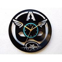 Reloj De Pared Disco Vinilo Acetato Vinil Capitán América