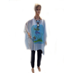 Tunicas Camisolas Gasa ,pintada A Mano Blusas, ,celeste