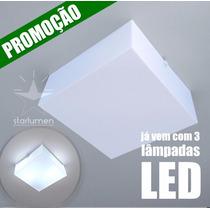 4x Plafon Led Acrílico 30x30 Quadrado Luminária Com Lâmpada