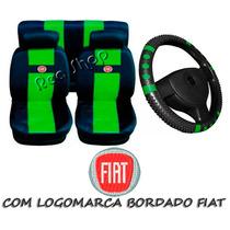 Uno Mille Fire Capas De Banco Carro Fiat +capa Volante Verde
