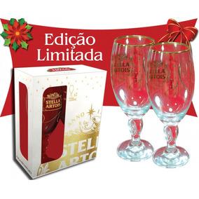02 Taças Calice Stella Artois 300 Ml Dourada Edição De Natal