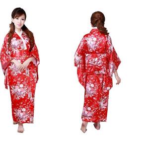 Kimono Japones Rojo Con Flores Unitalla