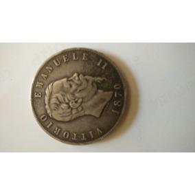 Moneda Antigua 5 Liras Italianas De 1870 Construida En Plata