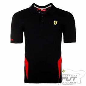 Camisa Gola Polo Scuderia Ferrari Preta E Vermelho 1ª Linha