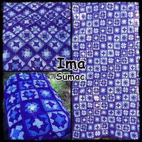 Manta Crochet Cubrecama Tejida Pachtwork. 1 Plaza. Artesanal