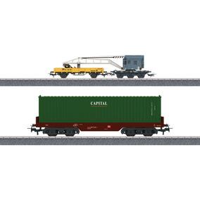Marklin 44452 - Set Vagón Portacontenedores Y Grúa - Marklgh