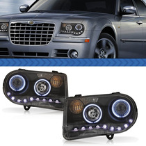 Par Farol Led Chrysler 300c 05/09 Angel Eyes Projetor Black