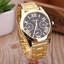 Relógio Masculino Geneva Quartz De Luxo