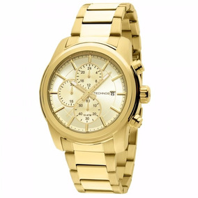 Relógio Masculino Technos Todo Dourado Cronógrafo Js15at/4x