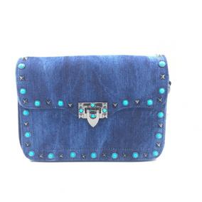 Bolsa Tiracolo Jeans Moda Blogueira Com Alça Colorida