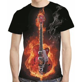 Camisa Rock Camiseta Guitarra Em Chamas - Estampa Total