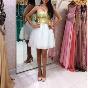 Vestido Branco Com Dourado/debutante/casamento/formatura