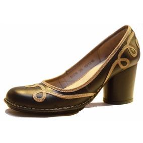 Zapato De Cuero Con Taco De Mujer, Diseño Exclusivo - Ag0029