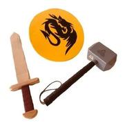 Kit Espada Escudo Mazo Thor Juguete Medieval Caballero Baum