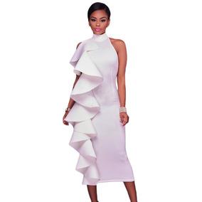 Vestido Halter Blanco Tipo Neopreno Sin Espalda Moda Olanes