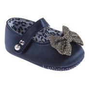Sapato Fashion Cetim Com Laço Marinho Feminino - Pimpolho