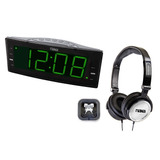 Rádio-relógio Digital Fm, Saída Usb + Kit C/ 2 Fones De O