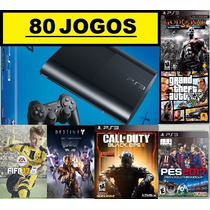 Ps3 Super Slim 500 Gb + 80 Jogos Originais No Hd + Fifa 17