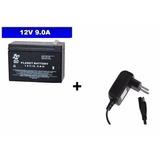 Bateria 12v 9ah + Carregador 12v P/ Moto Elétrica Bandeirant