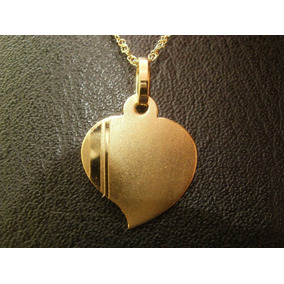 Conjunto Oro 18 Kilates Medalla Corazón P/grabar Y Cadena